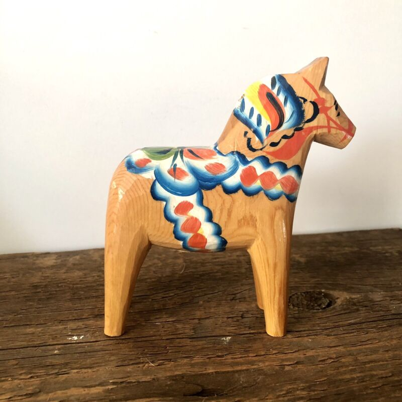 "5"" NILS OLSSON SWEDISH WOOD DALA HORSE ORIGINAL LABEL HAND PAINTED NATURAL WOOD"