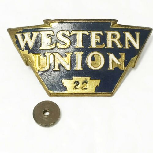 Western Union Telegraph Brass+Enamel Hat Badge Plate #22