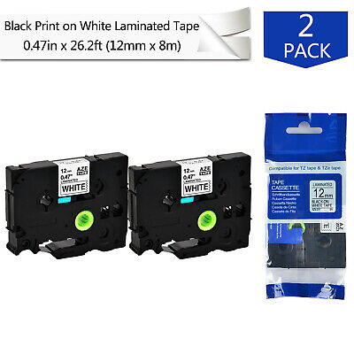 2pk 0.47 Label Tape For Brother P-touch Pt-1230pc Tze-231 Tz-231 Black On White