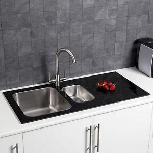 Modern Stainless Steel 1.5 Bowl Kitchen Sink 8mm Black Glass Surround RH Drainer