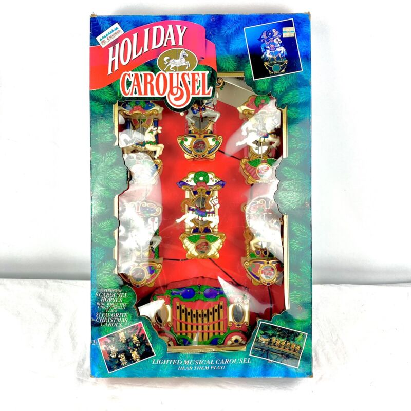 Mr. Christmas Holiday Carousel 8 Animated Musical Horses Lights 21 Carols VIDEO