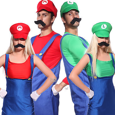 Mens Womens Super Mario Luigi Bros Cosplay Costume Couples Carnival Fancy Dress - Couple Cosplay Costumes