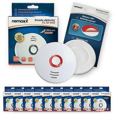 10x FL10VdS Detector de humo / Alarma incendio Pad de fijación -...