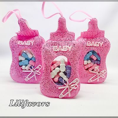 12 Fillable Bottle Pouches Baby Shower Favors Pink Party Decorations Girl