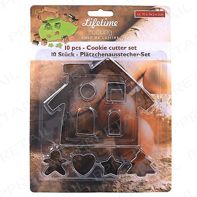 10Pc Biscuit Cutter Set HOUSE SHAPE W Trees Hearts Stars Cooking Baking Cookie