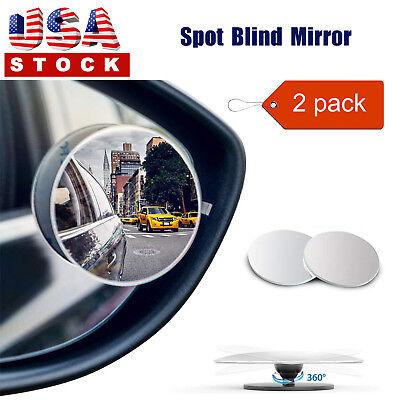 2PC 360° Blind Spot Mirror Car Rear View Mirror Round HD Glass Frameless (Glass Spot)
