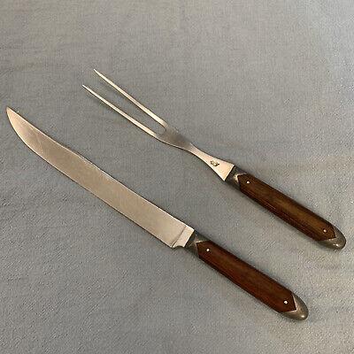 Vntg Queen Cutlery Co. Steel Carving Set Knife & Fork Fine Wood Handles, USA
