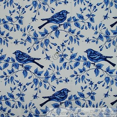 BonEful Fabric FQ Cotton Quilt White Blue Bird Toile Tree Branch French Country
