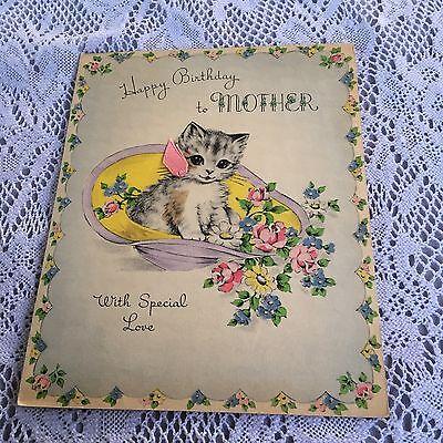 Vintage Greeting Card Birthday Mother Cat Kitten Hat Flowers Norcross