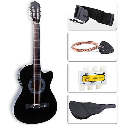 Cutaway Design Electric Acoustic Guitar w/Guitar Case, Strap & Tuner in Black