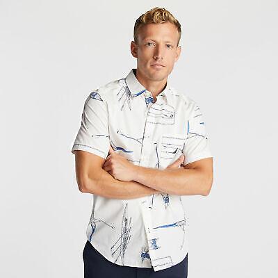 Nautica Mens Classic Fit Short Sleeve Shirt In Row Boat Print