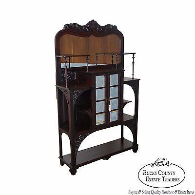 Antique Victorian Mahogany Mirror Back Etagere Curio -