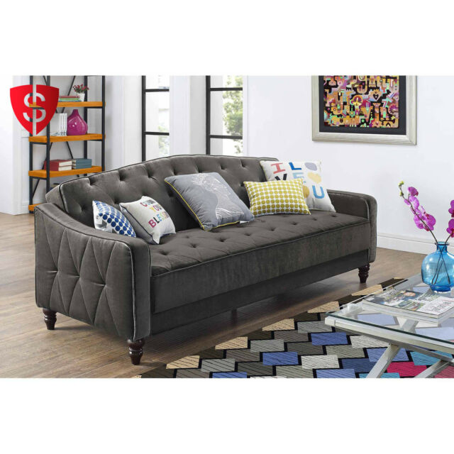 Captivating Tufted Sofa Couch Convertible Living Room Indoor Furniture Sleeper Seat Bed