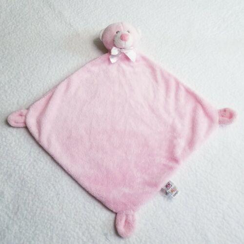 "Pink Bear Loveys Mini Blankie by Baby Ganz Security Soft Plush Blanket 12"" x 12"""