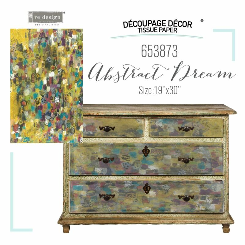 """Abstract Dream   Décor Decoupage Tissue   Redesign with Prima 19""""x30"""""""