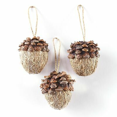 Acorn Christmas Tree Ornaments with Pine Cone Accents and Jute Rope - Set of 3