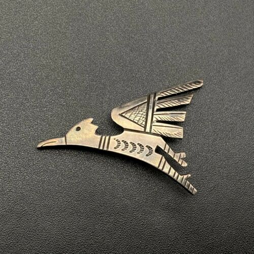 Vintage Hopi Victor Coochwytewa Sterling Silver Hand Stamped Bird Pin Brooch