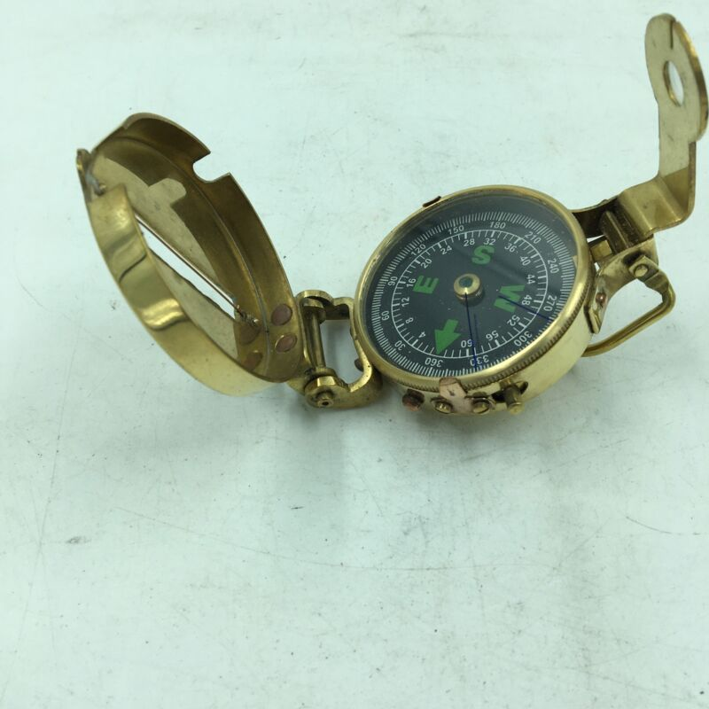 Authentic Military Brass Pocket Compass, Camping, Hiking, Fully Functional