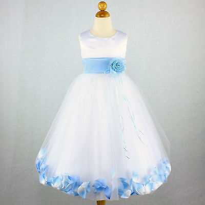 Baby Blue Flower Girl Dresses (WHITE BABY BLUE Wedding Party Flower Girl Dress Bridal Petal Recital Birthday)