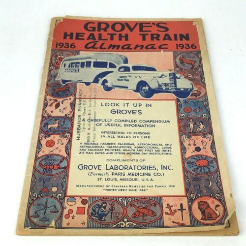 Vintage Groves Health Train Almanac 1936 Advertising 30s Ad Ephemera Booklet USA