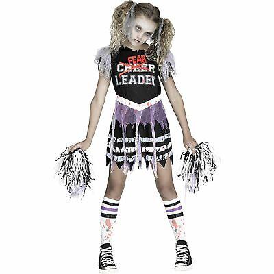 ZOMBIE FEARLEADER Cheerleader Fear Leader Costume Girls SMALL 4-6 Halloween