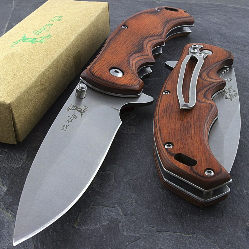 "8.25"" ELK RIDGE EDC BROWN PAKKAWOOD SPRING ASSISTED FOLDING POCKET KNIFE Blade"
