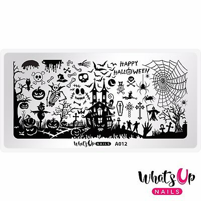 A012 Happy Halloween Stamping Plate For Stamped Nail Art - Halloween Nail Design