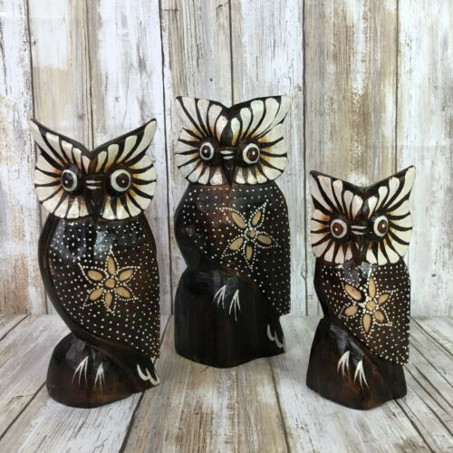 Set Of 3 Vintage Horned Owl Figurines Wooden Hand Painted Family Birds