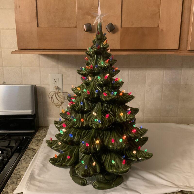 "Atlantic Mold 3 Piece 23"" Lighted Ceramic Christmas Tree"