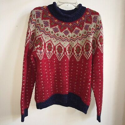 80s Sweatshirts, Sweaters, Vests | Women Vintage 1980's Red Fair Isle Nordic Pullover Sweater Misses Size L $20.00 AT vintagedancer.com
