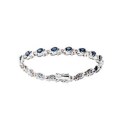 Blue Sapphire & Diamond Tennis Bracelet Pear shape Sterling Silver Platinum over