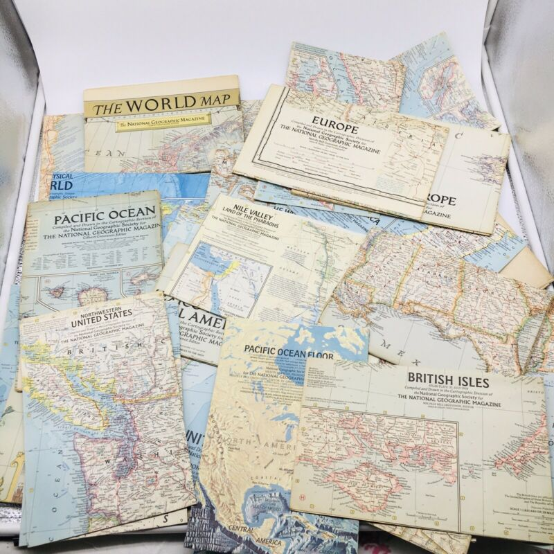38 LOT VINTAGE NATIONAL GEOGRAPHIC MAPS Paper Ephemera USA Foreign