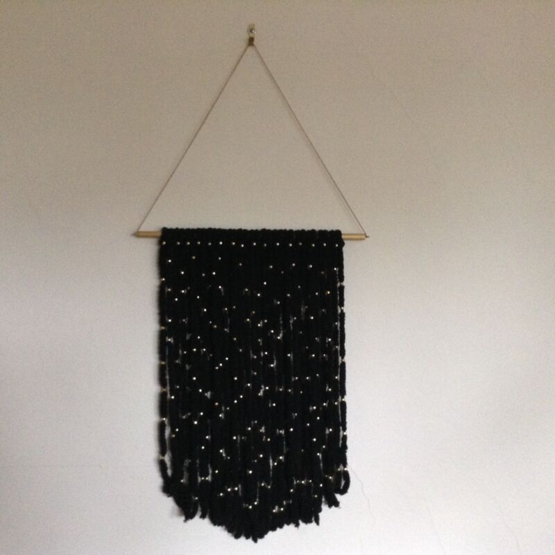 Macrame Woven Wall Hanging Tapestry BOHO Chic Bohemian  BLACK WITH GOLD BEADS