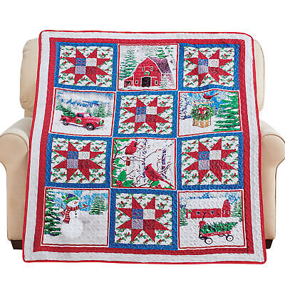 rustic winter farm holiday printed patchwork throw