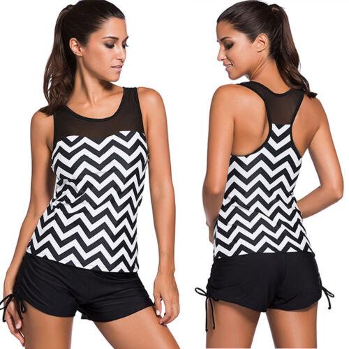 Women Summer Shorts Tankini Set Bikini Beach Swimwear Swimsuits Bathing Suit