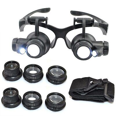 Double Eye Watch Jewelry Repair Magnifier Loupe Glasses With LED Light 8 Lens US - Glasses With Led