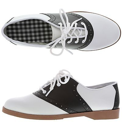 WOMEN'S BLACK AND WHITE 50'S STYLE SADDLE SHOES WIDE WIDTH ! ALL SIZES ~ NEW!