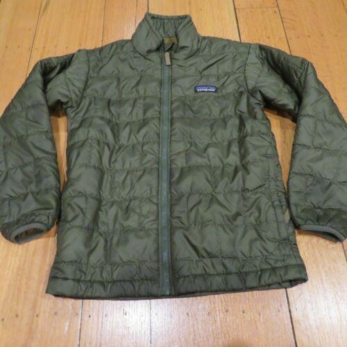 Patagonia Boys Girls Unisex Nano Puff Olive Green Jacket Size Size Small  7/8