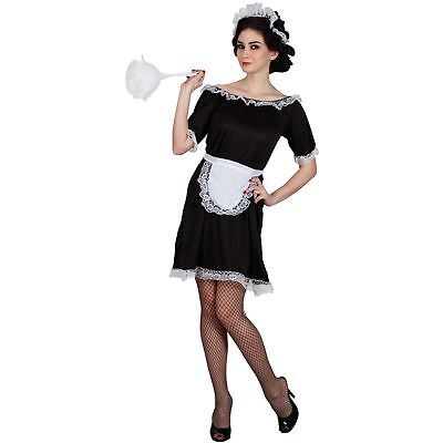 Classic French Maid Glamour Cleaner Adults Womens Fancy Dress Costume (Classic French Maid Costume)