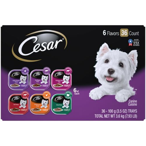 CESAR Wet Dog Food Classic Loaf in Sauce Grilled Chicken Beef Variety Pack,36 Ct