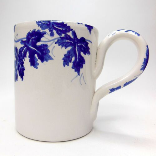 Vtg Macys The Cellar Blue Grape Leaves Coffee Mug Hand Painted Made in Italy