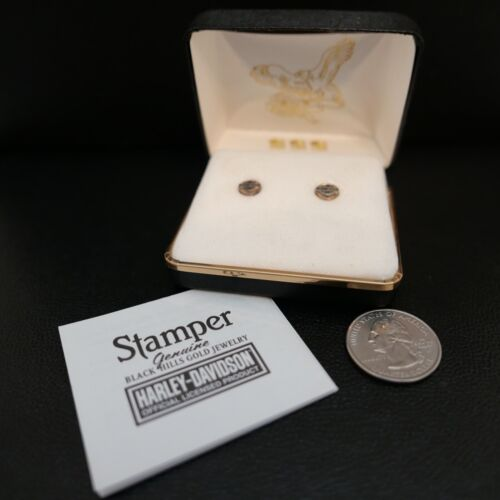 Vintage Harley Davidson Sterling & Gold Earrings Black Hills Jewelry USA Stamper