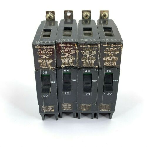 Lot of 4 General Electric 20 Amp 1 Pole Circuit Breakers - E11592 SWD TEY