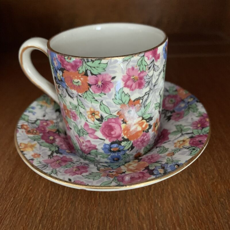 Lord Nelson Ware Marina Floral Chintz Flat Demitasse Cup & Saucer