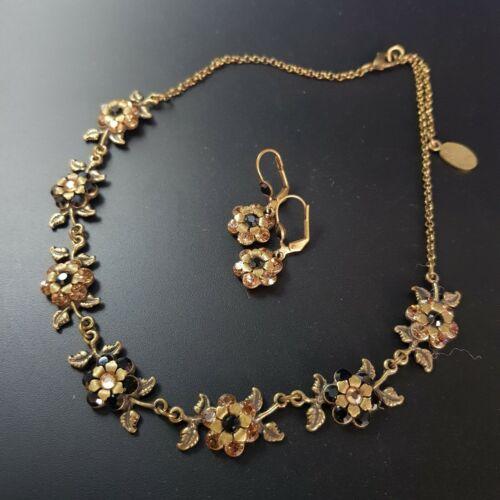 Michal Negrin Necklace Earrings Set  Brown Swarovsky Crystals vintage signed