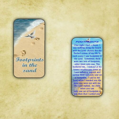HOLY CARD  FOOTPRINTS IN THE SAND RELIGIOUS LAMINATED