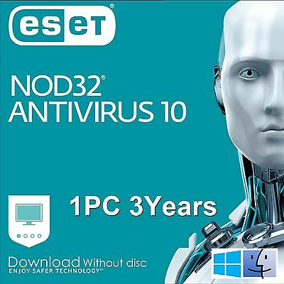 ESET Nod32 Antivirus 10 / 2017 / 1 User 3 Years Download Edition for Win &Mac