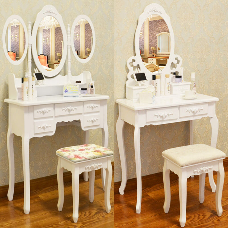 White dressing table vanity makeup desk with 4 or 7 drawers mirror and stool ebay - Stool for vanity table ...