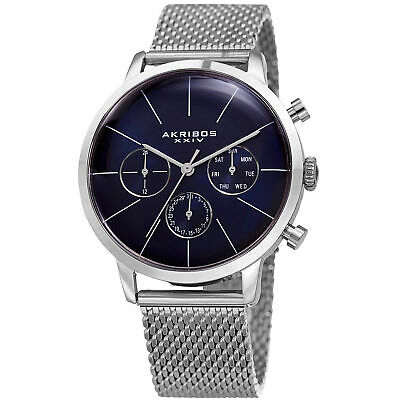New Men's Akribos XXIV AK714SSBU Swiss Multifunction Blue Dial Mesh Steel Watch