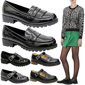 Ladies women retro chunky cleated school sole work loafers for Onorevoli donne